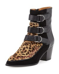 Isabel Marant Dickey Leopard Print Fur And Leather Boot Fauve
