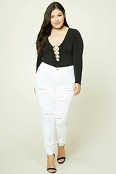 Forever 21 Plus Size Distressed Jeans White