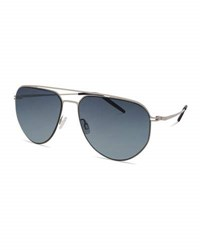 Barton Perreira Men's B010 Aviator Sunglasses Silver Matte Navy Night Blue Gradient
