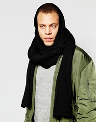 Asos Hooded Scarf In Black Black
