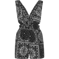 River Island Black Paisley Cut Out Playsuit