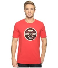 Life Is Good Keep It Reel Smooth Tee Americana Red Men's T Shirt
