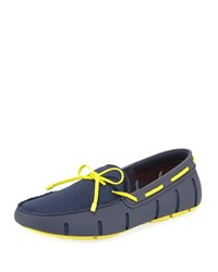 Swims Mesh And Rubber Braided Lace Boat Shoe Navy Yellow
