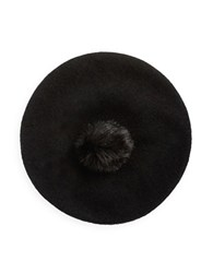 Collection 18 Faux Fur Pom Beret Black
