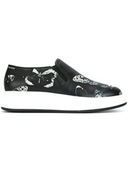 Alexander Mcqueen Extended Sole Moth Print Sneakers Black