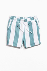 Urban Outfitters Uo Lucian Awning Stripe Volley Short Blue Multi