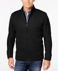 Weatherproof Vintage Men's Big And Tall Ribbed Zipper Cardigan Only At Macy's Black