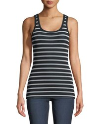 Fuzzi Striped Classic Tulle Tank Top Black