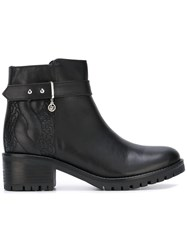 Armani Jeans Stitch Detail Ankle Boots Black