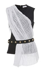 Carven Shiny Waves Lace Draped Top Black White