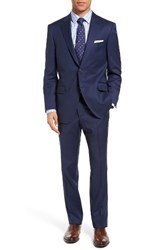 Peter Millar Men's Big And Tall Classic Fit Plaid Wool Suit Blue