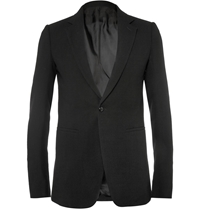 Rick Owens Slim Fit Wool Blend Crepe Blazer Black