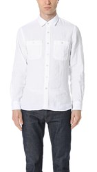 Todd Snyder Long Sleeve Linen Two Pocket Shirt White