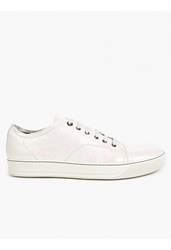 Lanvin Men's White Iridescent Basket Sneakers