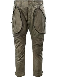 Faith Connexion Cropped Leather Trousers Green