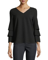 Lafayette 148 New York Velez Finesse Crepe Blouse Black