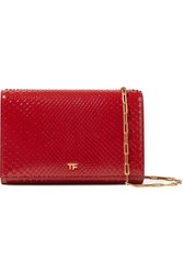 Tom Ford Leather Trimmed Python Shoulder Bag Red