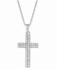 Macy's Cubic Zirconia Cross Pendant Necklace In Sterling Silver