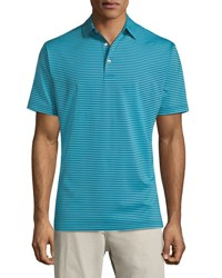 Peter Millar Competition Striped Polo Shirt Dark Blue