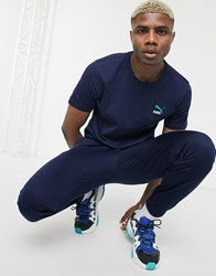 Puma Classics Embroidered T Shirt In Navy