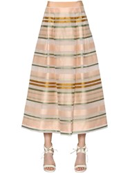 Max Mara Shine Striped Organza Midi Skirt