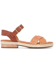 Chie Mihara Woven 'Jean' Sandals Women Leather Rubber 38 Nude Neutrals