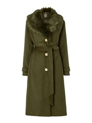 Biba Detachable Faux Fur Collar Wool Mix Belted Coat Khaki