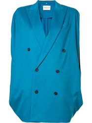 Vionnet Double Breasted Batwing Coat Blue