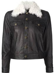 Derek Lam 10 Crosby Shearling Collar Denim Jacket Black