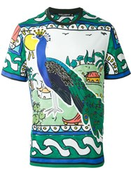 Dolce And Gabbana Peacock Print T Shirt Green