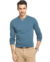 Van Heusen Big And Tall Jaspe Chest Stripe V Neck Pullover Wing Teal Turquoise