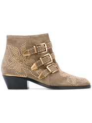 Chloe Buckled Ankle Boots Women Calf Leather Leather 36 Nude Neutrals