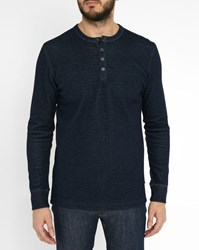 Minimum Blue Claverdon Grandad Collar T Shirt