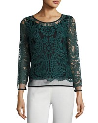 Joan Vass Bracelet Sleeve Lace Overlay Top Forest