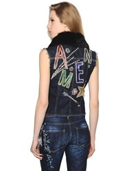 Amen Embellished Cotton Denim Vest W Lapin