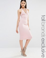 Naanaa Tall Sleeveless Plunge Cross Back Pencil Dress Tawny Rose Pink