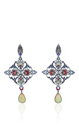 Lydia Courteille Opal And Spinel Drop Earrings Blue
