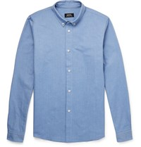 A.P.C. Slim Fit Button Down Collar Cotton Oxford Shirt Blue