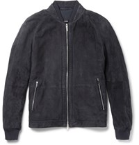 Hugo Boss Gorin Perforated Suede Bomber Jacket Blue