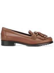 Tod's Fringed Tasseled Loafers Women Leather Rubber 35.5 Brown