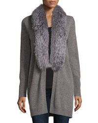Neiman Marcus Cashmere Fox Fur Collar Cardigan Heather Grey