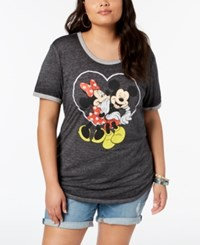 Hybrid Plus Size Mickey And Minnie Mouse T Shirt Charcoal