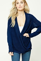 Forever 21 Contemporary Surplice Sweater Navy