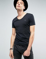 Allsaints T Shirt With Scoop Neck Jet Black