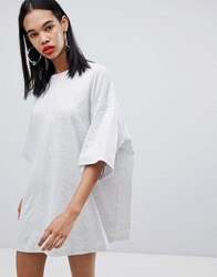 Weekday Huge T Shirt Dress In Grey Melange Grey Melange
