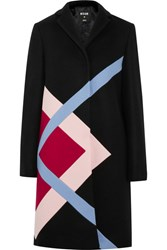 Msgm Color Block Wool Blend Felt Coat Black