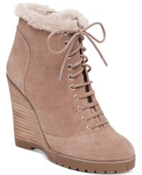 Jessica Simpson Kaelo Faux Shearling Lace Up Wedge Booties Women's Shoes Warm Taupe