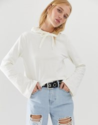Noisy May Cropped Hoodie Cream