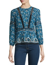 Veronica Beard Cabo Boho Paisley Silk Blouse Blue