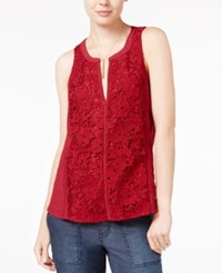 Sanctuary Swen Sleeveless Crochet Front Top Boheme Red